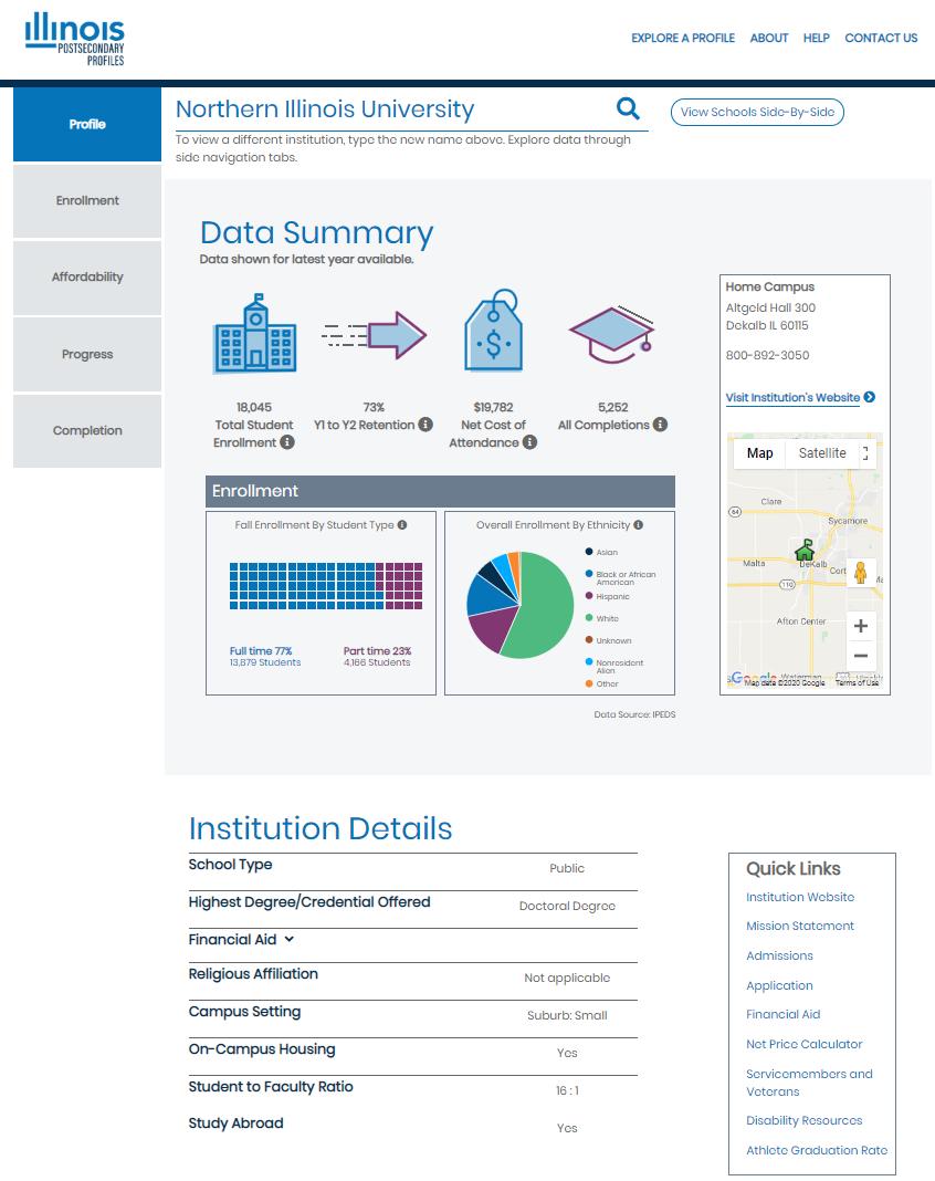 Illinois Postsecondary Profiles - View School Info Detail